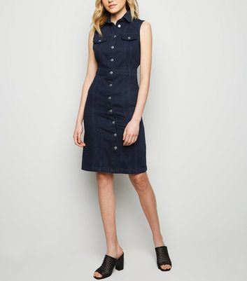 Navy Denim Button Up Dress