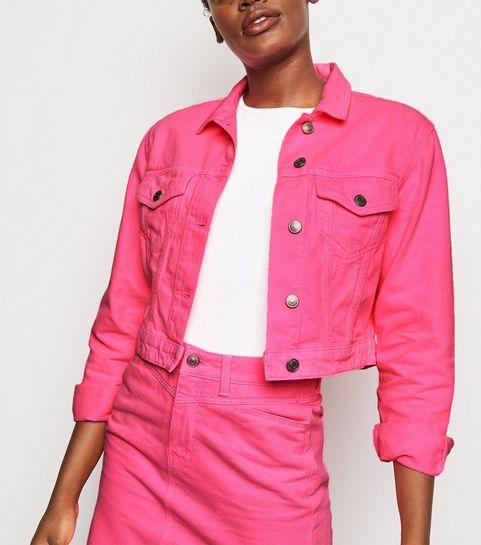 3c17dcf8c0e ... Bright Pink Neon Boxy Denim Jacket ...