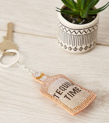 Orange Tequila Time Slogan Bottle Keyring