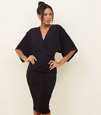 Black Twist Front Kimono Sleeve Midi Dress