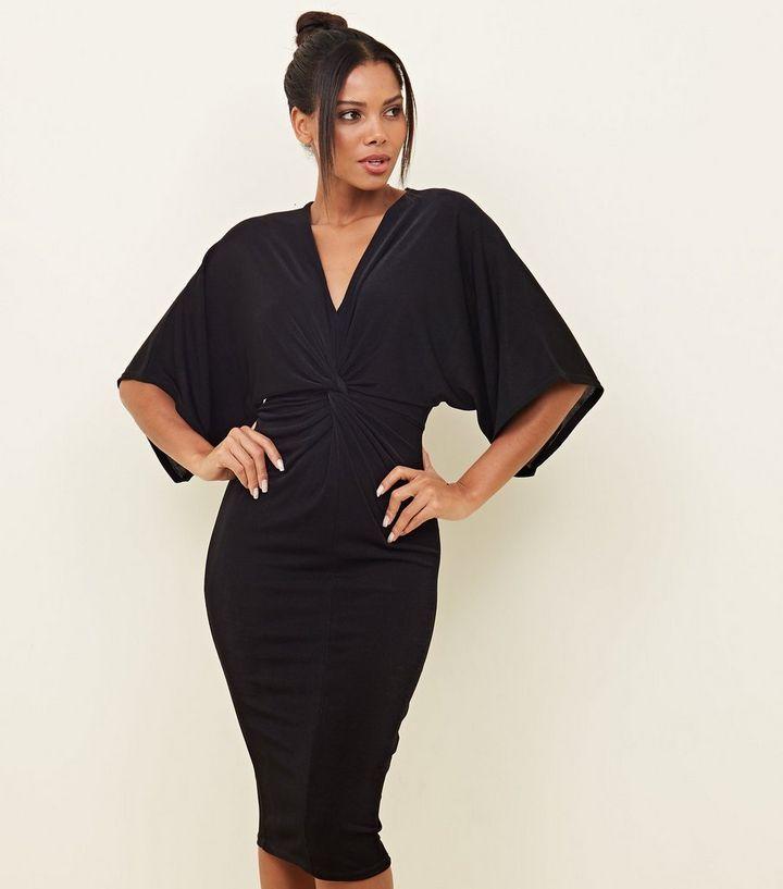 2f73fac9cc62 Black Twist Front Kimono Sleeve Midi Dress | New Look