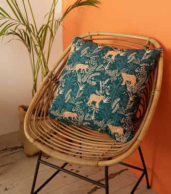 Teal Jungle Leopard Print Cushion