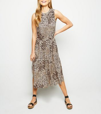 Brown Animal Print Tiered Smock Dress