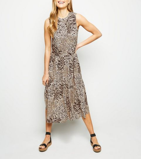 3d674bf6448 ... Brown Animal Print Tiered Smock Dress ...