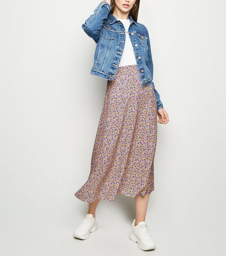 8e487e030 Tall Pink Ditsy Floral Print Midi Skirt | New Look