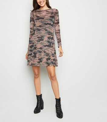 Green Camo Mesh Swing Dress