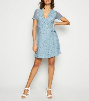 Blue Floral Mesh Mini Wrap Dress