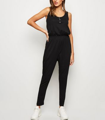 Black Button Front Jersey Jumpsuit