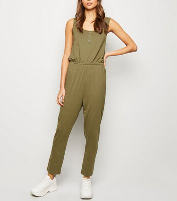 Khaki Button Front Jersey Jumpsuit