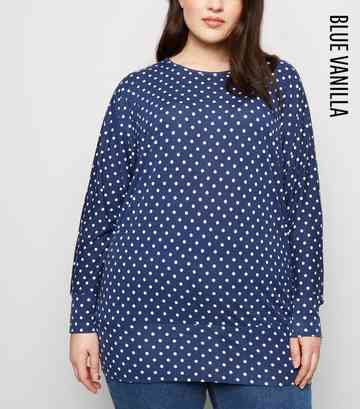 Blue Vanilla Curves Navy Spot Print Top