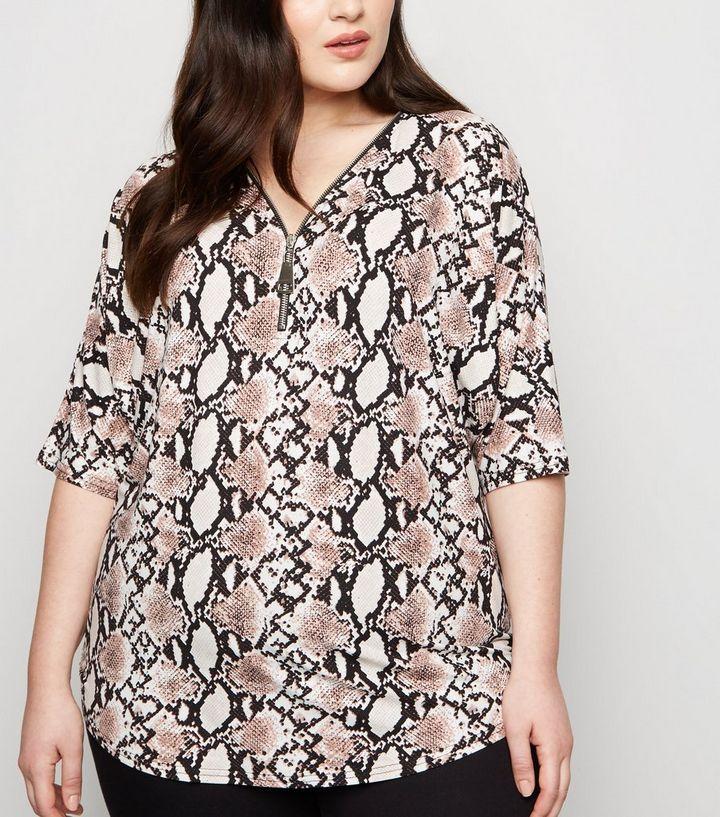ad2987178a2d1 Blue Vanilla Curves Pink Snake Print Zip T-Shirt