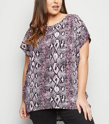 Blue Vanilla Curves Lilac Snake Print Batwing Top