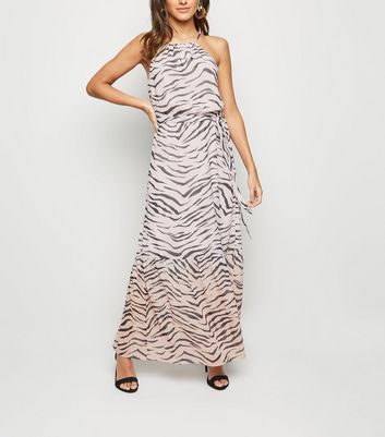 Pink Ombré Tiger Print Tiered Maxi Dress