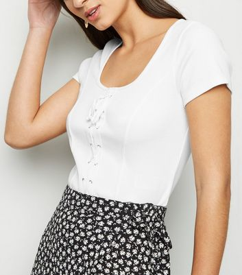 White Ribbed Lattice Front T-Shirt