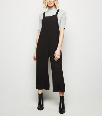 Black Square Neck Herringbone Dungaree Jumpsuit