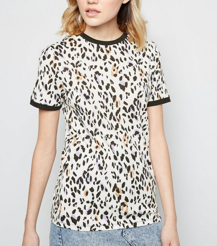 439f083b82987a Tall White Leopard Print Short Sleeve T-Shirt | New Look