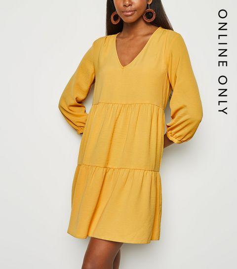 237cc14ca6b7 ... Pale Yellow Herringbone Smock Dress ...