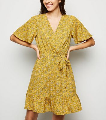 Mustard Ditsy Floral Wrap Front Dress