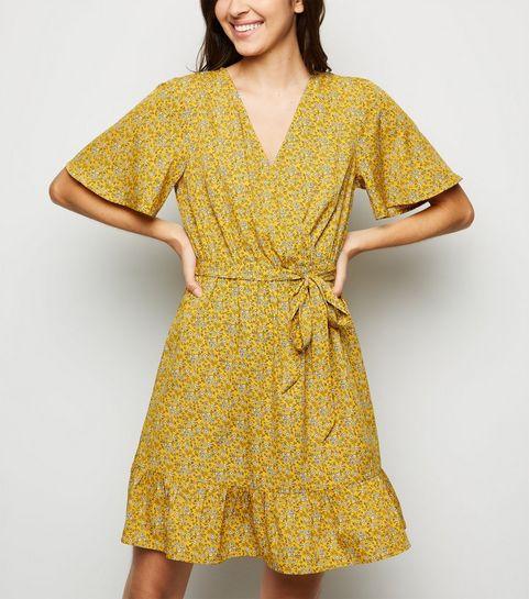 26e6d8c5c0 ... Mustard Ditsy Floral Wrap Front Dress ...