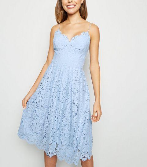 7701d7524ec ... Pale Blue Pleated Lace Midi Dress ...
