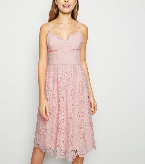 dae6a9e9394 ... Pale Pink Pleated Lace Midi Dress ...