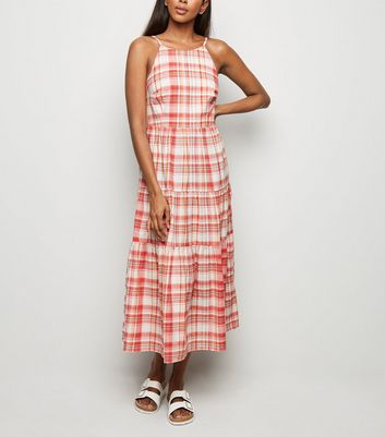 Pink Check Tiered Midi Dress