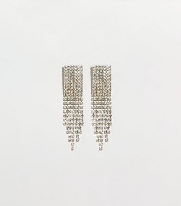 Silver Premium Rectangular Tassel Earrings