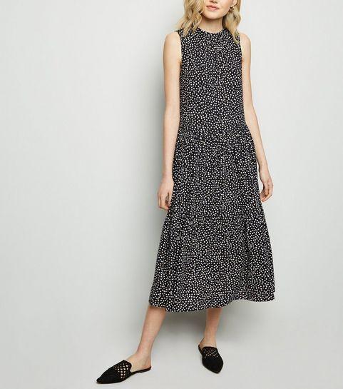 485003f48f298 ... Black Spot Tiered Midi Smock Dress ...