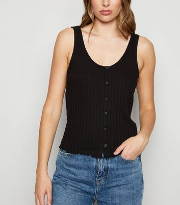 Black Ribbed Button Up Vest