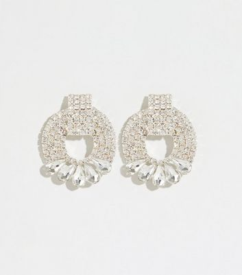 Silver Premium Door Knocker Diamanté Earrings