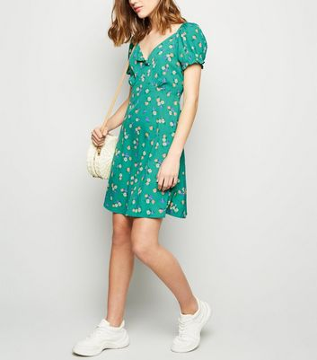 Green Floral Puff Sleeve Tea Dress