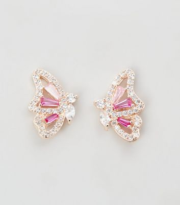 Mid Pink Cubic Zirconia Butterfly Stud Earrings