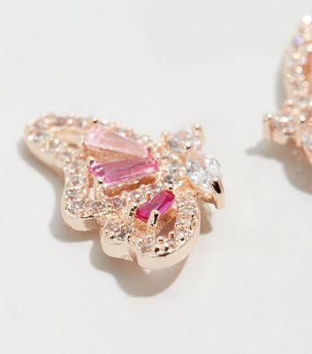 Mid Pink Cubic Zirconia Butterfly Stud Earrings New Look
