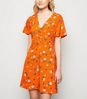 Orange Ditsy Floral Print Tea Dress