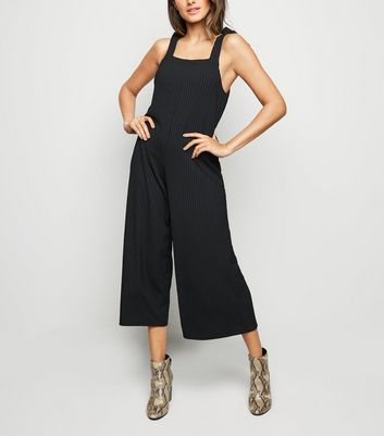 Black Ribbed Square Neck Jumpsuit