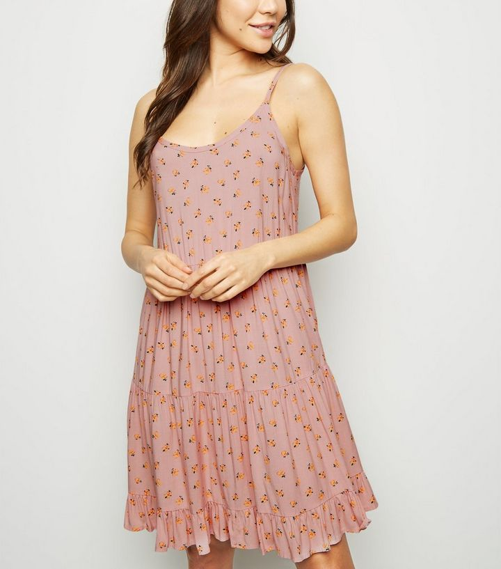 89b23474b898 Pink Ditsy Floral Tiered Sundress | New Look
