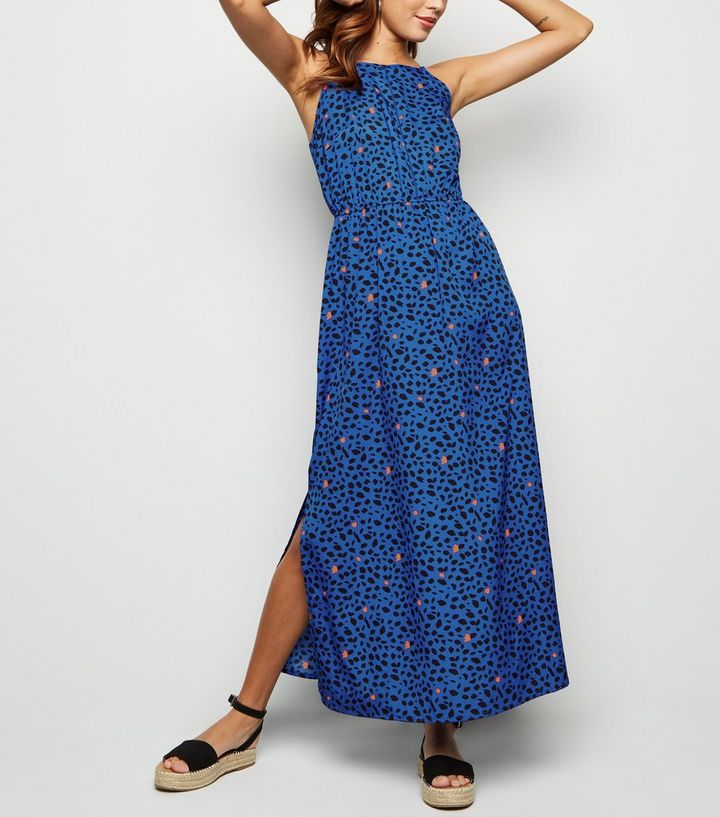 Blue Leopard Print Crochet Front Maxi Dress New Look