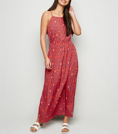 21fe31dfe48d ... Red Leopard Print Crochet Front Maxi Dress ...