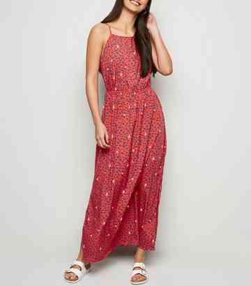 142b83255a Red Leopard Print Crochet Front Maxi Dress ...