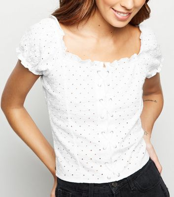 White Broderie Lace Up Front Top