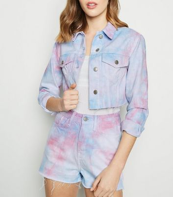 Pink Tie Dye Raw Hem Denim Jacket