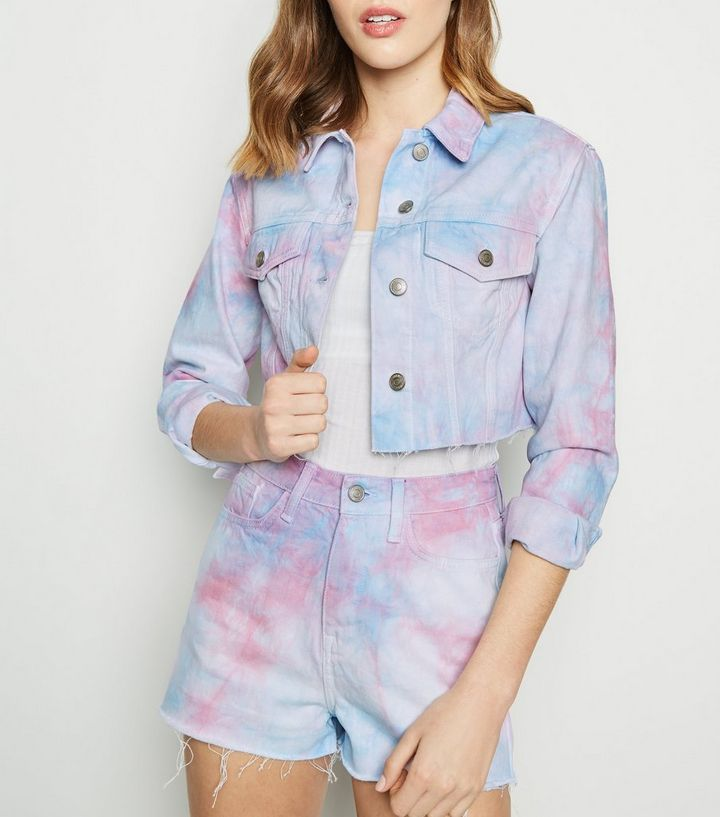 c4a81c045 Pink Tie Dye Raw Hem Denim Jacket Add to Saved Items Remove from Saved Items