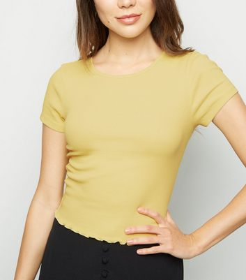 Pale Yellow Ribbed Cap Sleeve T-Shirt