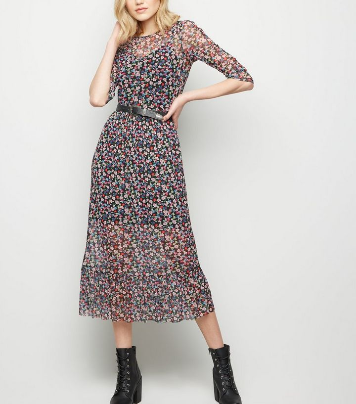 fd6db6a2ebe Black Bright Floral Mesh Midi Dress | New Look