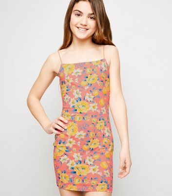 Girls Pink Floral Bodycon Dress