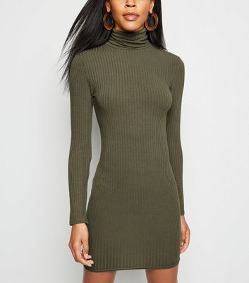 Khaki Roll Neck Long Sleeve Bodycon Mini Dress