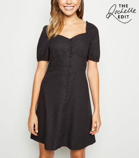1e4e0078f2fd ... Black Linen Blend Button Up Milkmaid Dress ...