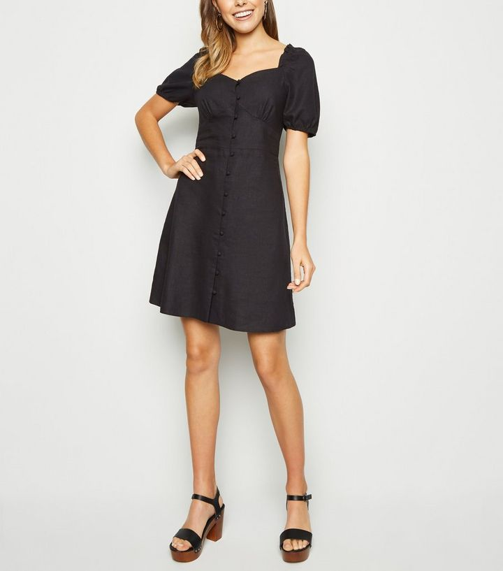 ddc2a91bd2 ... Black Linen Blend Button Up Milkmaid Dress. ×. ×. ×. Shop the look