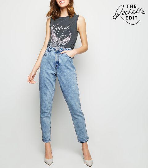 fe1f1626e03 ... Pale Blue Acid Wash Tori Mom Jeans ...