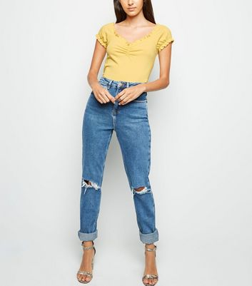 Pale Yellow Frill Edge Ribbed T-Shirt